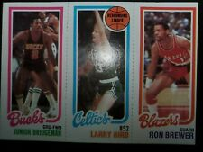 1980-81 Topps Junior Bridgeman Larry Bird RC Ron Brewer Card #49 198-31-146 NMMb