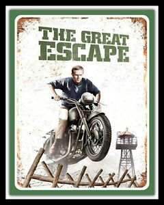 GREAT ESCAPE STEVE McQUEEN TRIUMPH MOTORCYCLE MOTORBIKE METAL SIGN PLAQUE 901