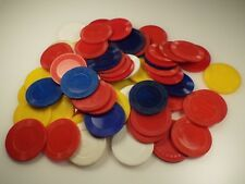 Lot of various vintage Plastic Poker Chips Red/White/Blue/Yellow