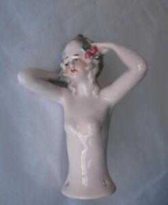 Vintage Porcelain half Doll Pin Cushion Lady