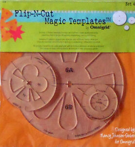 #2228 OMNIGRID FLIP-N-CUT MAGIC QUILT TEMPLATES - SET #4 - NIP!