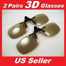 be911bc9be 2 Pairs Clip-On Passive 3D Glasses with Polarized Plastic Lenses for LG LCD  HDTV