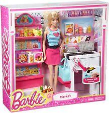 New Barbie Malibu Market with Barbie Doll Playset   3+   Ckp77