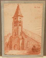 """Dessin Sanguine Début XIXe Daté 1888  """" Eglise """"  PDH3"""