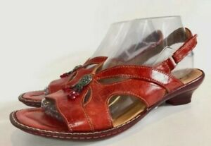THINK! sandals. Red Patent Leather strappy sandals, heels. Made in Hungary. 38
