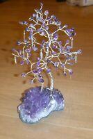 9.5 inch-Breath-taking AMETHYST gem tree on an AMETHYST crystal cluster