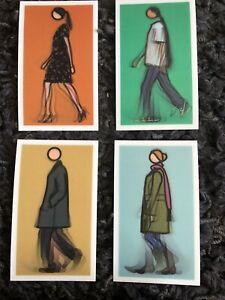 "JULIAN OPIE (b1958) set of 4 LENTICULAR 3D Motion POSTCARDS ""Walking Figures NEW"