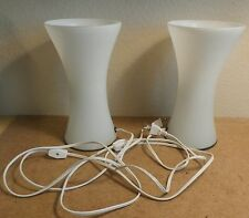 "(2) Pair of White Glass Lamps Table 9.5"" tall Sleek Modern Design VGC"