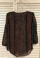 Lucky Brand Multicolored Sheer Vneck Design Long Sleeve Blouse Top Size L Large