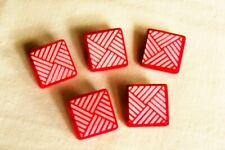 5 vtge.(unused) red glass buttons/geometric pattern/white lustre 16mm sq.