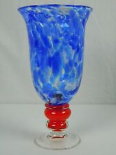 Large 11 inch tall Art Glass Vase Hand Blown Red White Blue Marbled Footed