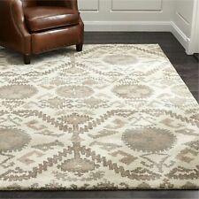 Crate & Barrel Orissa Neutral 9' x 12' Handmade 100% Wool Area Rugs & Carpet