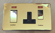 CrabtreeCooker Control 45A & 13A SKT NEON  Polished Brass LP009PB New Boxed