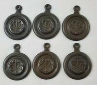 VINTAGE Brass/Bronze Keyhole Cover Plate Antique Old Door Hardware Bronze 6 Pcs