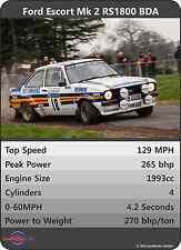 FORD ESCORT Mk2 RS1800 BDA Car Trumps Poster A3 RS2000 Rally UNIQUE GIFT