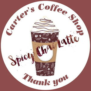 24 PERSONALISED GLOSS COFFEE CUP STICKERS, ANY TEXT, ADVERTISE YOUR BRAND