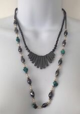 Necklaces Free Us Shipping & Handling! 1980's Hematite Acrylic Lucite Beads Link