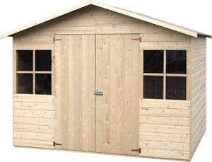 Casetta in Legno 272x182 Porta 2 Finestre da Giardino Attrezzi 12 mm Pavimento