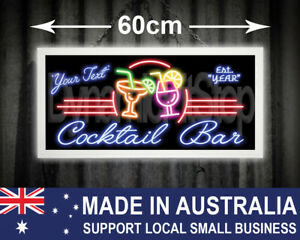 Illuminated Custom Neon Style Cocktail Bar Sign, man cave, garage, workshop