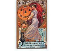 St905e; Romance Wish On Happy Halloween Emb Chromo-litho Circa 1912 Postcard