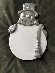 NEW Lenox Yuletide Snowman Marble & Metal Cheeseboard w/ Knife Christmas Board