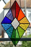 Stained Glass Diamond Rainbow Suncatcher,Panel, Geometric, Handmade in England