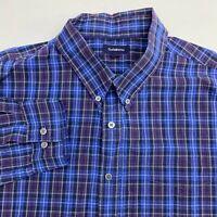 Croft & Barrow Button Up Shirt Men's 2XL XXL Long Sleeve Multi Plaid Casual