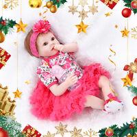 "22"" Handmade Lifelike Baby Girl Doll Silicone Vinyl Reborn Newborn Dolls Gift US"