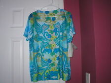 Womens Top Jane Ashley Casual Lifestyle short sleeve sz 1X 100% polyester NWT