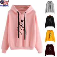 Womens Heart Sweatshirt Hooded Hoodie Jumper Winter Long Sleeve Pullover Outwear