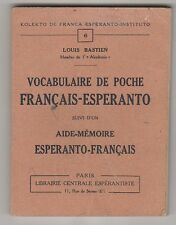 Vocabulaire de poche français -esperanto Louis Bastien 1937