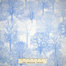 Christmas Fabric - Ice Blue Tree Silhouette Glitter Timeless Treasures 1.52 YARD
