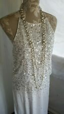 Vtg 1920,s 30's style Gatsby white sequin wedding prom dress size 10 uk
