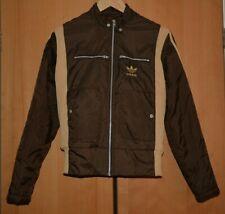 Adidas womens brown jacket, striped sports activewear zip jacket coat UK 10