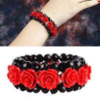 Women Flower Bracelet Red Lacquer Carved Cinnabar Rose Bracelet Elastic Jewelry