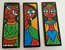 Carved Wooden 3pc. Art Panels Folk Art Hand Painted Primitive Wall Art SIGNED