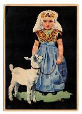Girl Sheep Lamb Postcard Vintage Art WNGA Unposted Children Shepherd