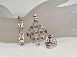 ELLE Sterling Silver Lab-Created Ruby Pendant, Ring & Bracelet Set