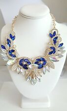 "Blue Clear Aurora Borealis Rhinestone Goldtone 20"" Bib Necklace Unsigned"