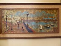 """Vintage Mid Century 1970's Oil Picture Painting """"Harbor City Scene""""by Fairchild"""