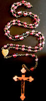 Vintage Catholic Pink Glass 5 Decade IHS Rosary, Gold Tone & Pink Crucifix