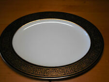 "Mikasa Bone China MT HOLYOKE 114 Oval Serving Platter 15"" Black Gold"
