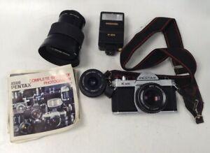 Vintage Camera Bundle Asahi Pentax K1000 35mm Film Camera + 35-85mm Lens + More