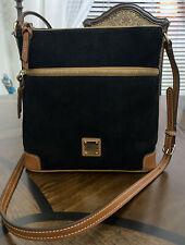 Authentic Dooney & Bourke Black Suede Leather Crossbody Bag 264