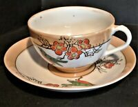 1920s Vintage Lusterware Cup & Saucers Hand Painted Robins 10 Total Sets Tea