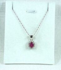 1.00 ct Natural African Ruby & Diamond 925 Sterling Silver Necklace