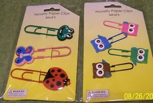 New 2 Cute Sets of Novelty PAPER CLIPS