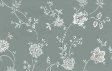 Paisley Floral Vintage Wallpaper Gray Pink Blue White Vintage C&A 68544 D/Rs