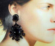 NEW Black Tone Crystal Long Style Drop Down Dangle Chandelier Earrings Design UK