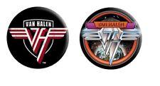Van Halen -2 Button Badge Set-Collector's-Pinb ack Style-Logos-Licensed New